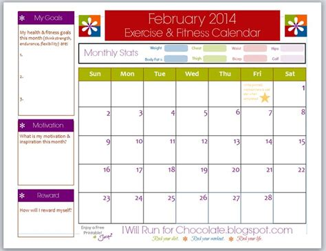 printable calendar goals free printable exercise workout calendar use this