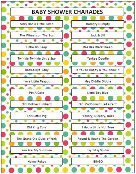 Songs For A Baby Shower by Nursery Rhyme Charades Baby Showers Shower And Baby Shower