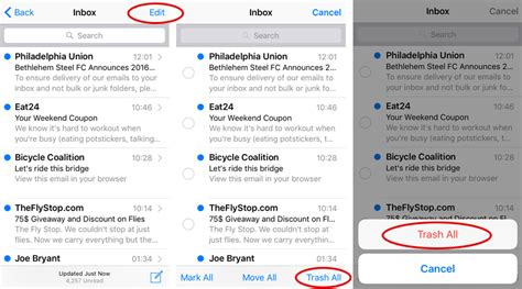 yahoo email going to trash iphone how can i delete all ios mail messages the iphone faq