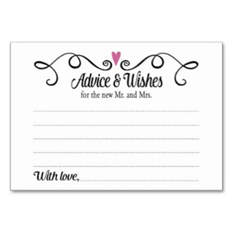 wedding wish card template wedding advice cards zazzle