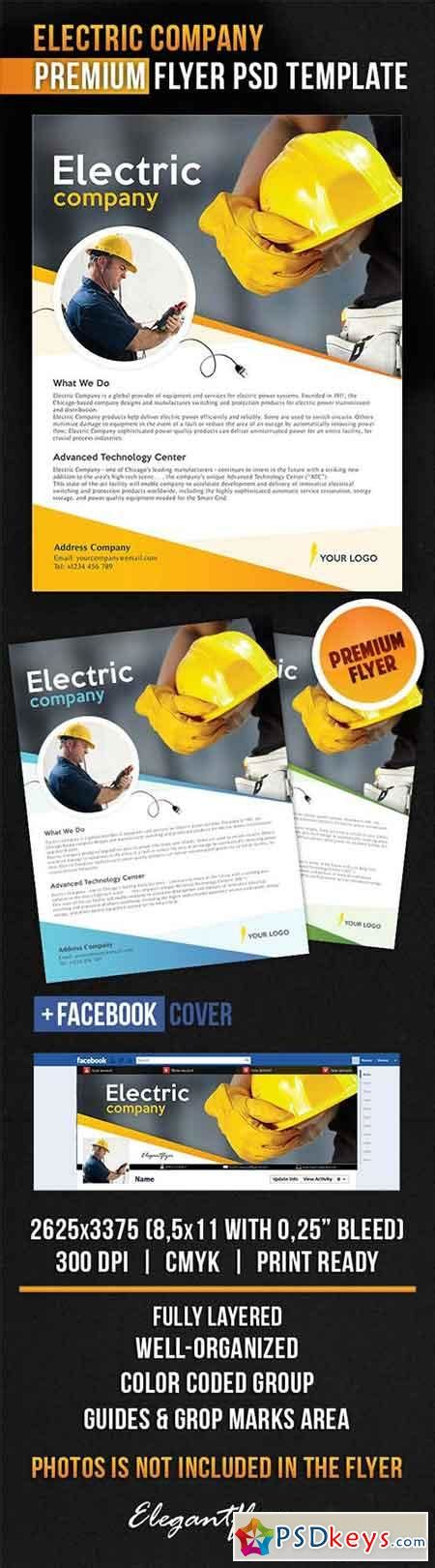 electric company flyer psd template facebook cover