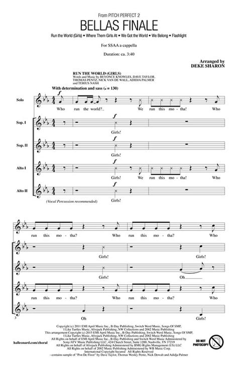 Bellas Finale (From Pitch Perfect 2) Sheet Music by Deke
