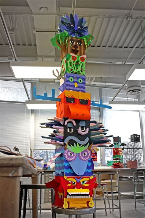 How To Make A Paper Totem Pole - cool totem pole craft projects for hative