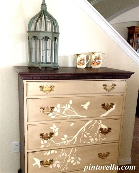 muebles vintage chalk paint antique dresser stenciled with birds and branches chalk