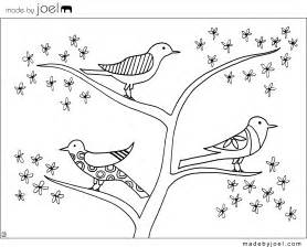 free coloring pages birds nest tree