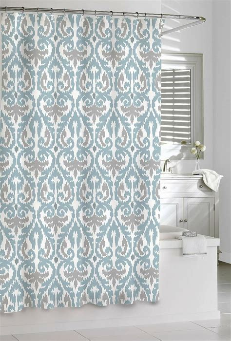 White Ikat Curtains Shower Curtain Kassatex Scrolled Ikat Blue Grey White 72 X 72 Cotton Homey