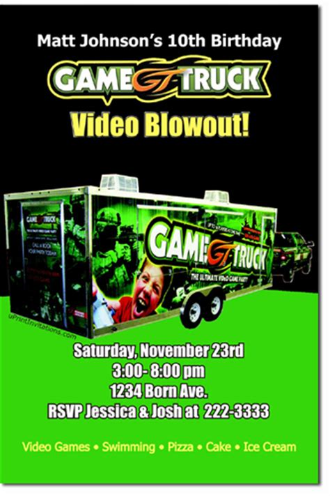 game truck layout game truck party invitations cimvitation