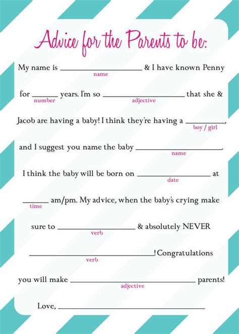 Mad Libs Baby Shower Printable by Baby Shower Mad Libs Ad Lib Baby Shower Printable Fill