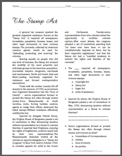 act worksheets the st act reading with questions student handouts