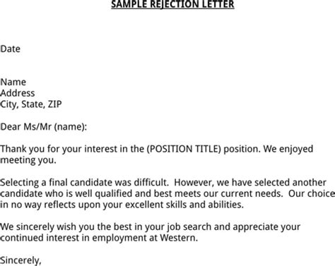 Rejection Letter Due To Failed Screen Rejection Letter Sle For Excel Pdf And Word