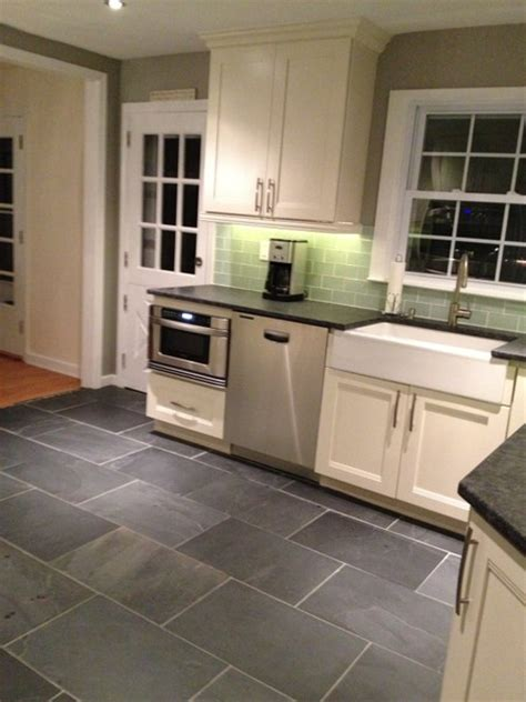 white kitchen slate floor home decoration