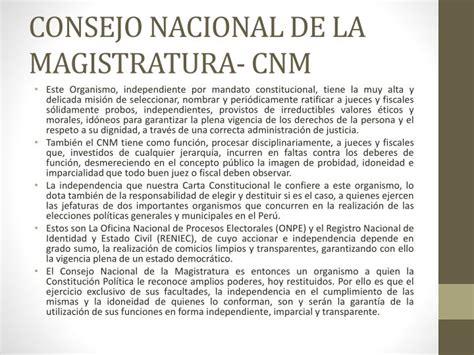 consejo nacional de la magistratura cnm cnmgobpe ppt organismos constitucionales autonomos y fonafe