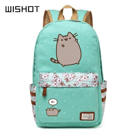 wishot pusheen cat canvas bag unicorn flower wave point rucksacks backpack for teenagers