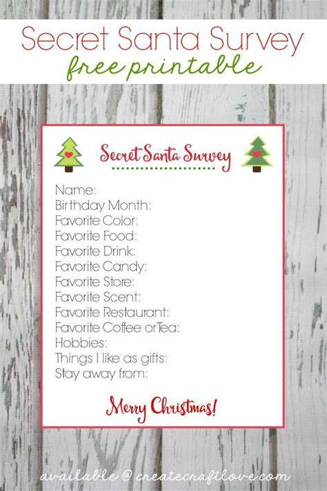 christmas gift questionnaire form secret santa survey printable office gifts secret santa and santa
