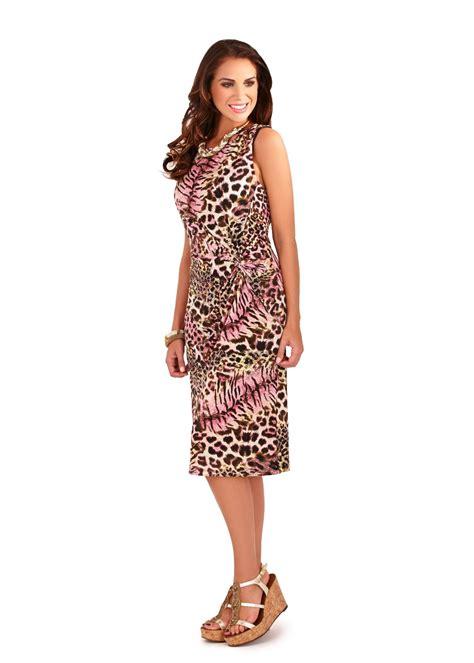 womens animal print dress mid length sleeveless summer