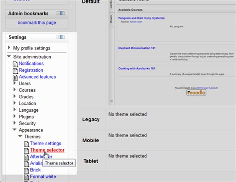 moodle theme overlay changing the default standard theme in moodle inmotion