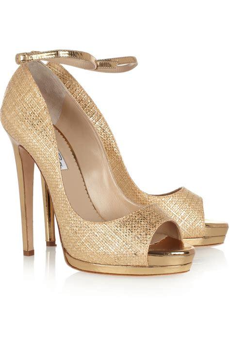 oscar de la renta slippers oscar de la renta metallic raffia effect sandals gold wacoz