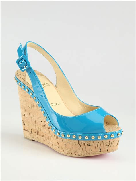 Christian Louboutin Patent Slingback Wedges by Lyst Christian Louboutin Monico Studded Patent Leather