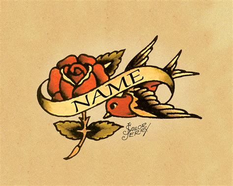 classic swallow tattoo design personalised sailor jerry custom metal tatto