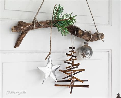 rustic twig christmas tree ornament on a branchfunky junk