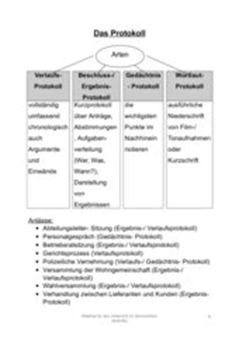 Unterrichtsprotokoll Schreiben Muster 4teachers Arten Funktion Protokoll