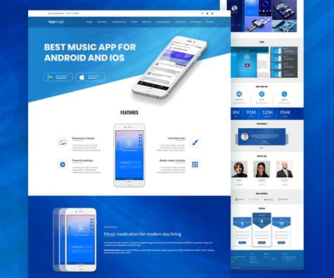 layout app web mobile app landingpage template psd download download psd