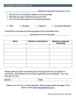 Nominating Committee Report Template Committee Nomination Form Template Fill Out Forms