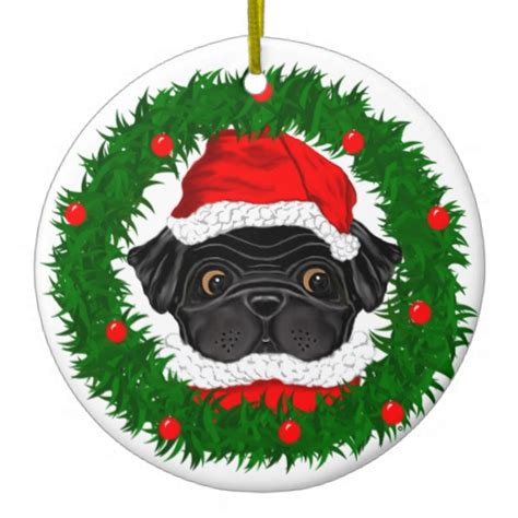 black pug santa christmas tree ornament zazzle