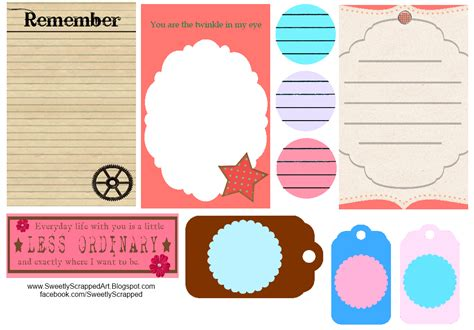 Printable Journal Tags | sweetly scrapped free printable journaling spots and tags