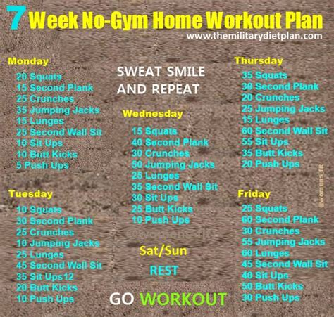 home workout plans 7 week no gym home workout plans exercise pinterest