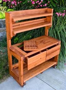 potting bench redwood potting bench custom outdoor wood bench