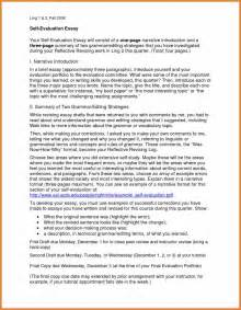 Self Evaluation Cover Letter Self Evaluation Exles Sop