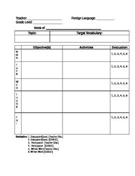 speech language lesson plan template foreign language lesson plan template by grade