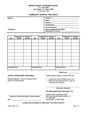 Marin County Superior Court Records Community Service Log Sheet For Court Fill