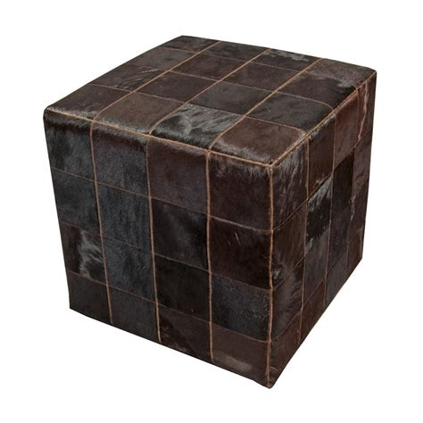 Cowhide Cube Cowhide Cube Pouf Patchwork Brown Monochrome Fur Home