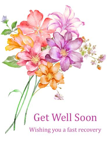 Get Well Flowers by Blue Flower Get Well Card Birthday Greeting Cards By Davia