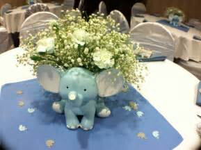 baby shower elephant theme for a boy center pieces