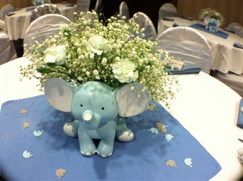 Baby Boy Elephant Shower Ideas by Baby Shower Elephant Theme For A Boy Center Pieces
