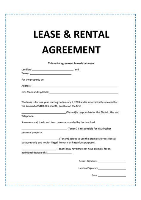 rental agreement template free doc 620785 lease agreement create a free rental
