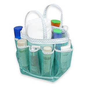 buy mesh shower tote in aqua chevron from bed bath beyond