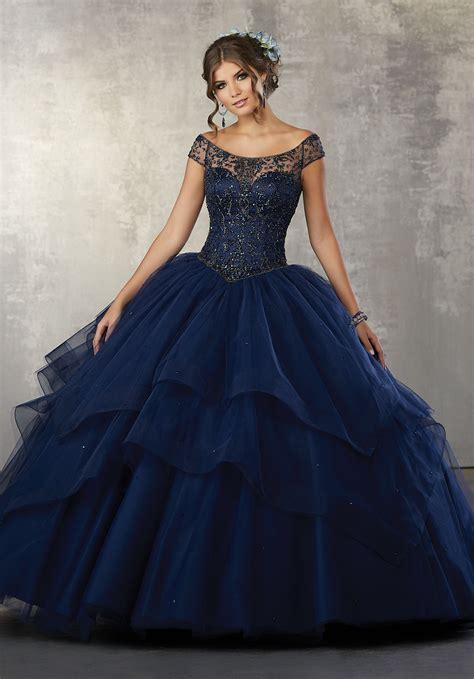Dress Valencia Blue beaded bodice on a flounced tulle ballgown style