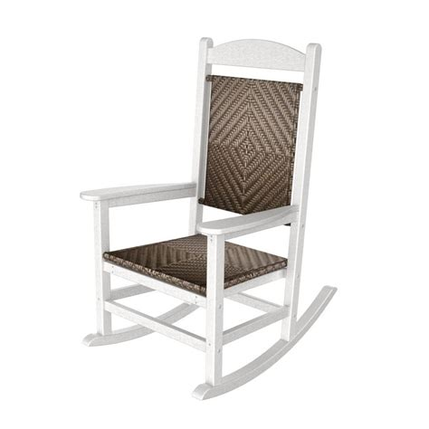 White Rocking Chair Outdoor by Shop Polywood White Cahaba Recycled Plastic Woven Seat