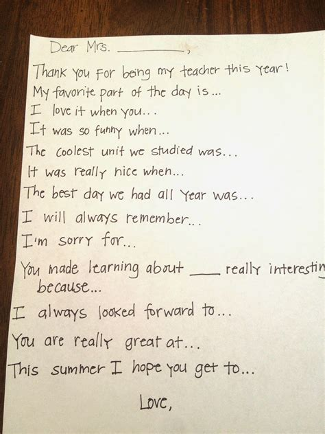 Thank You Letter For A Teachers Leaving School Thank You Note Prompts Romney Writes