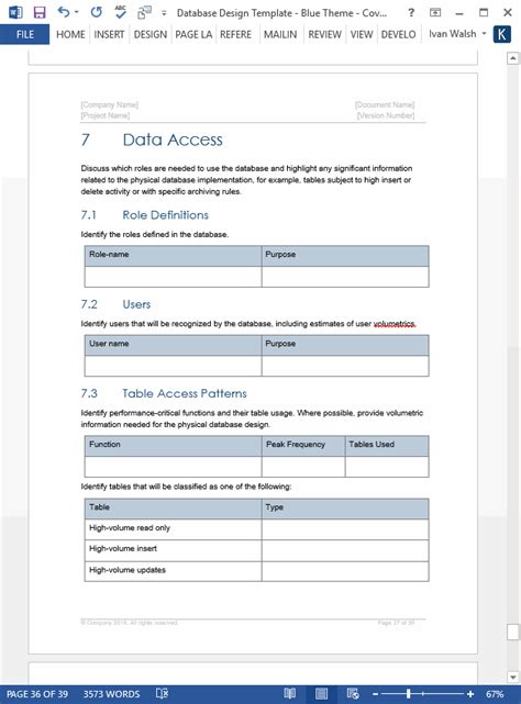 document database template database design document template