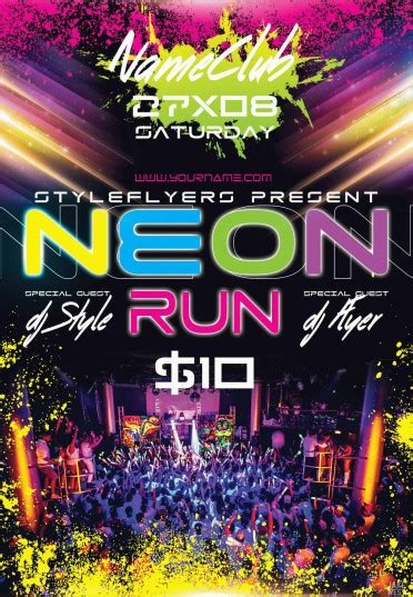Neon Run Psd Flyer Template 9580 Styleflyers Neon Flyer Template Free