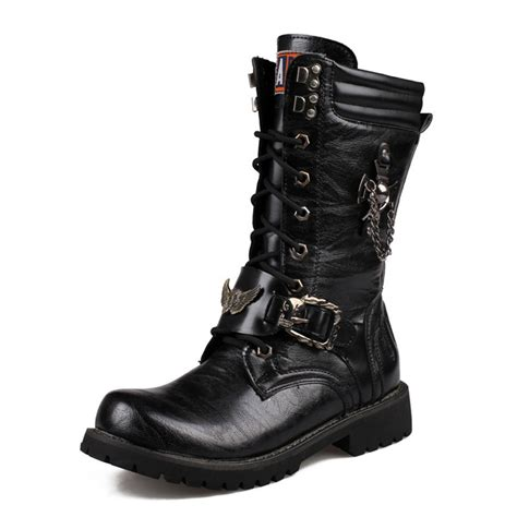 cool boots mens fashion winter new boots high top cool metal boots