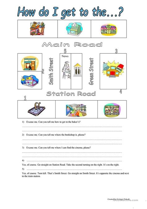 free printable giving directions worksheets esl worksheets on prepositions of place worksheet exle