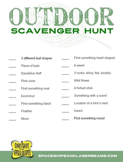 backyard scavenger hunt list kid s projects outdoor scavenger hunt with free printable