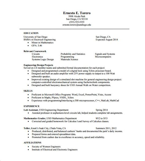 Resume Format For Engineering Students In Pdf One Page Resume Template 11 Free Word Excel Pdf