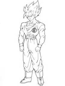 Goku Super Saiyan 2 Drawings Full Body Sketch Coloring Page sketch template